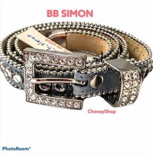 NWT BB SIMON Blue Swarovski Crystal Bling Belt
